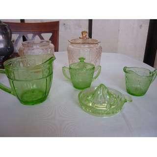 Vintage Elegant Depression Green Glassware