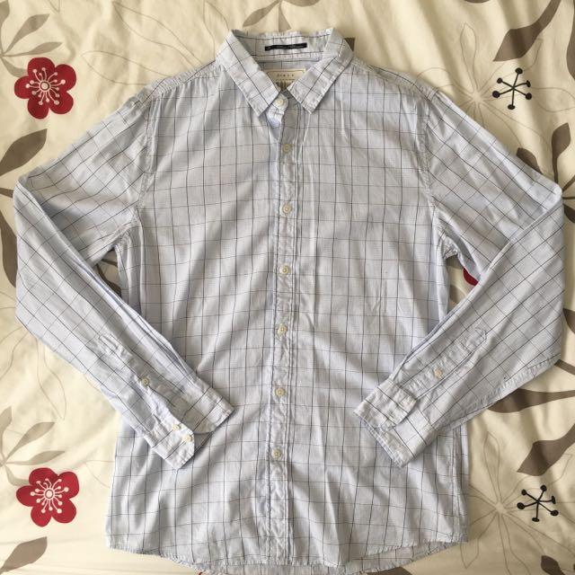 21 Men White Checkered Shirt