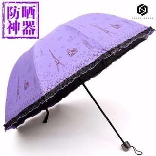 【免運】 晴雨傘 創意 三折疊 黑膠 防曬 防紫外線 遮陽 太陽傘 鐵塔 淑女傘 #428