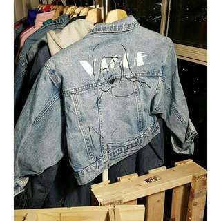 Vintage Denim Crop Jacket Hand Painted
