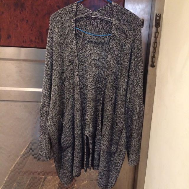 混色針織長版外套/罩衫