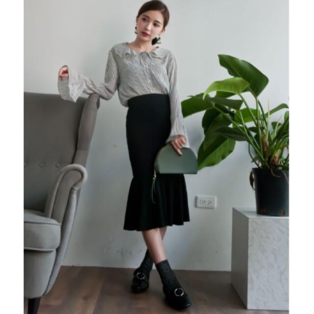 全新*針織黑色魚尾裙
