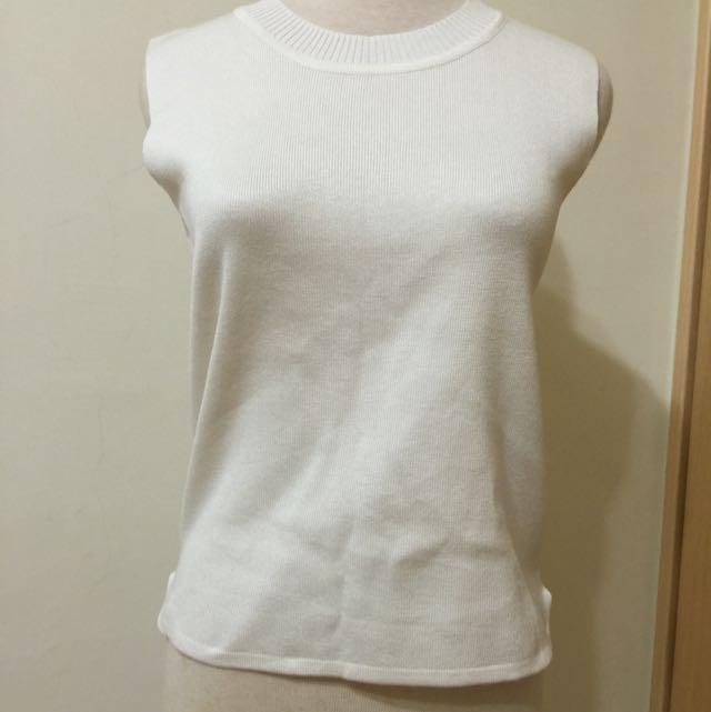 質感薄圓領針織(白)