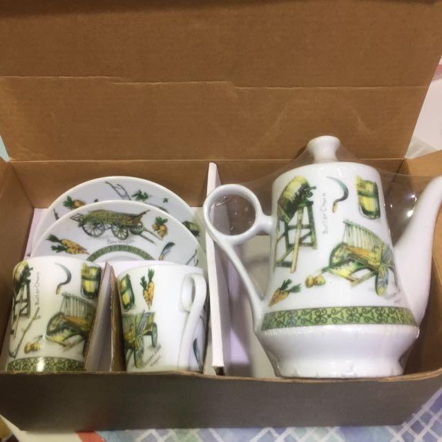 全新鄉村風咖啡壺&杯盤套組