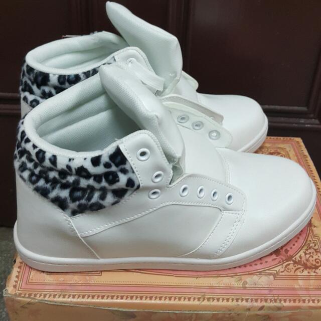 【現貨】豹紋 白色 滑板鞋 休閒鞋 短筒鞋 增高鞋