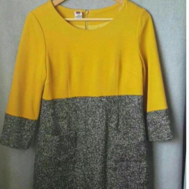 伊蕾名店毛料二色口袋洋裝 L號
