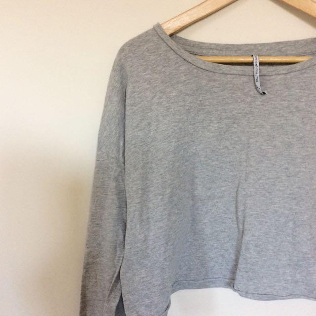 Agentninetynine Grey Long sleeve Crop Top