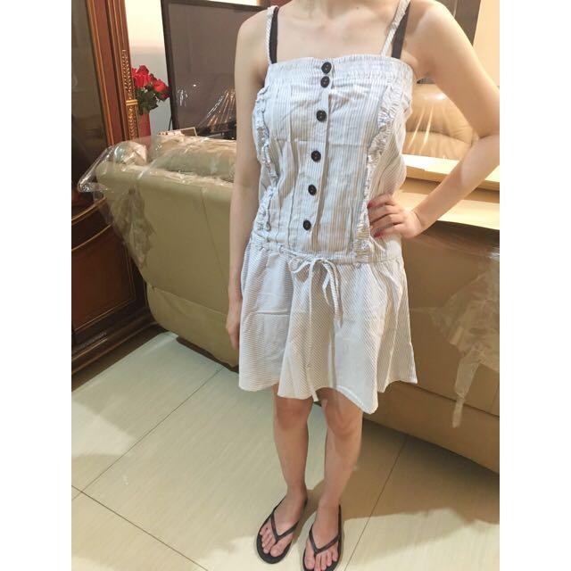 aqua button dress