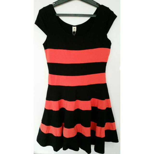 Black And Orange Striped Dress