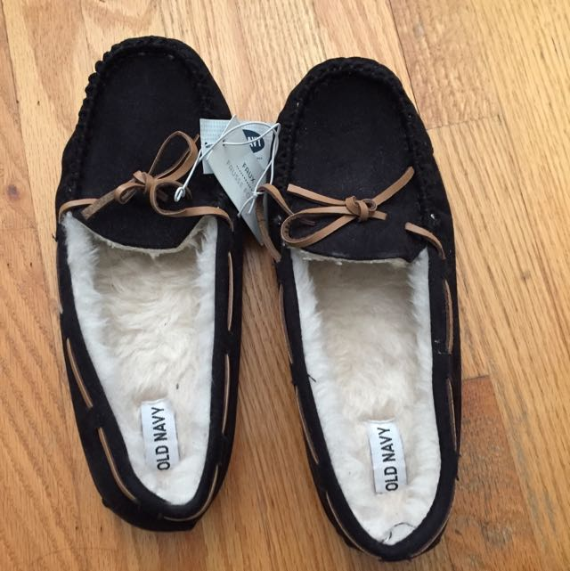 Brand New Black Moccasin Slippers