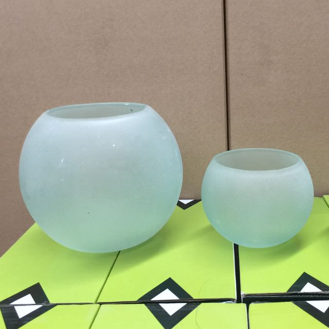 Blue Frosted Glass Candle Holders