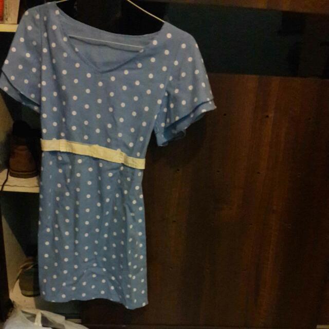 Blue Polka Mini Dress