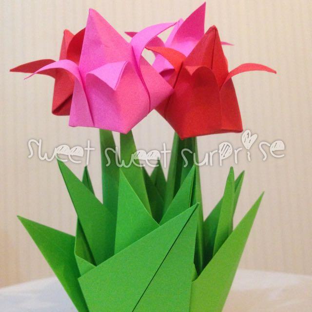 Bunga Tulip Kertas Full Origami - Origami Flower Tulip - kado wisuda ultah