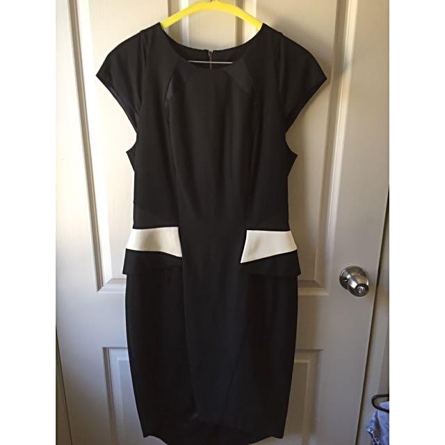 Cue Black Tuxedo Pencil dress Size 10