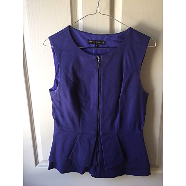 Cue Purple Peplum Top Size 10