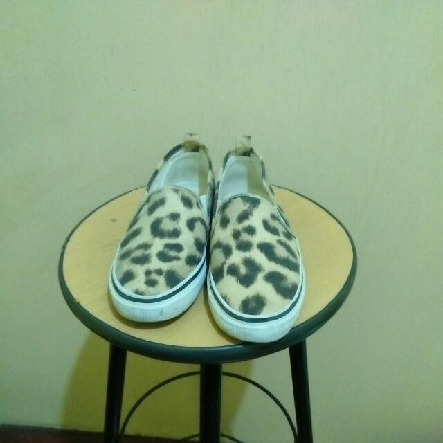Divided Leopard Print Slip On Sneaks