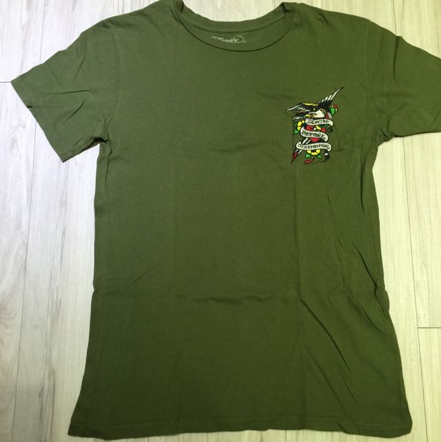 Ed Hardy 綠色基本款素色t-shirt