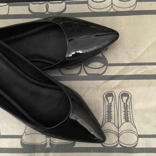 Flat shoes BLACK Kulit asli