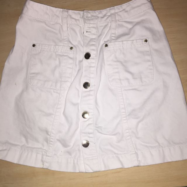 ForeverNew Denim Skirt White