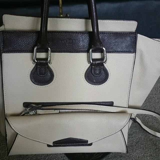 Frederic Paris Tote In Beige With Brown Trima