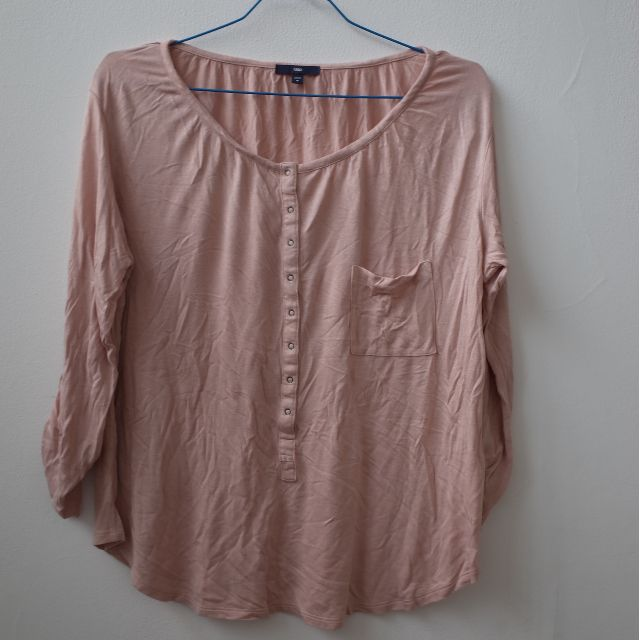 GAP Loose Tshirt Pink Casual Long Sleeve