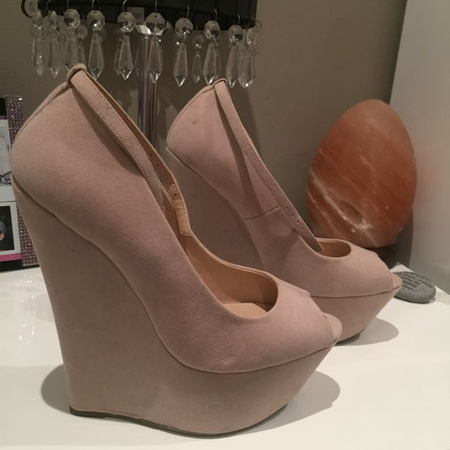 'Glamour' nude wedge heels.