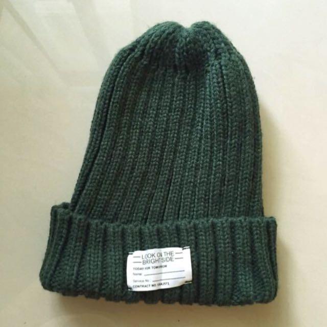 (免運)【GU】針織毛帽-深綠