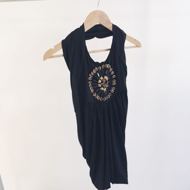 Halter-neck Black Dress- Size 10