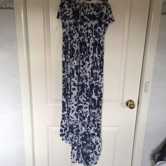High-Low Blue Floral Dress