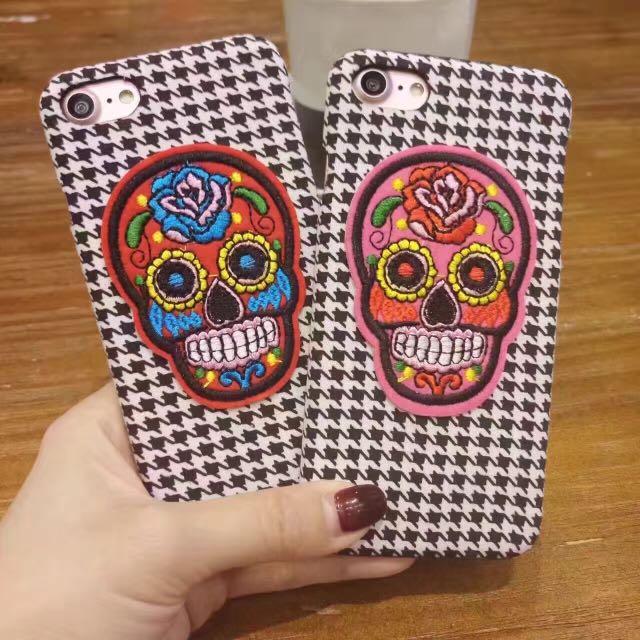 千鳥格刺繡骷髏時尚半包手機殼iPhone手機殼iphone7/iphone6/plus