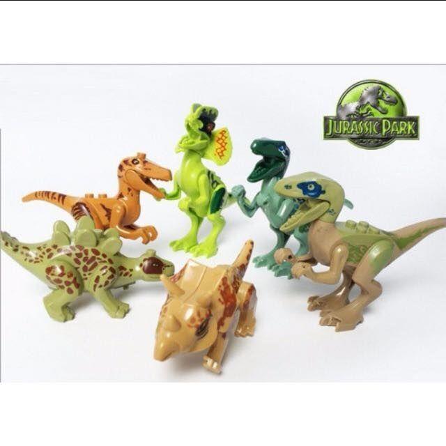 Jurassic Park / Jurassic World / Dinosaur Lego / Cake Topper / Decoration /  Figurines / Lego 6pcs in A set