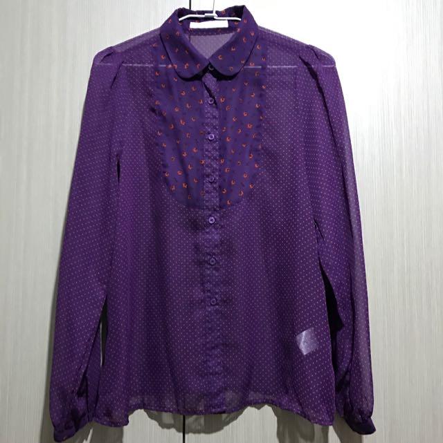 古著/LOWRYS FARM日牌紫紅色搭配紅色小花透視透明長袖襯衫