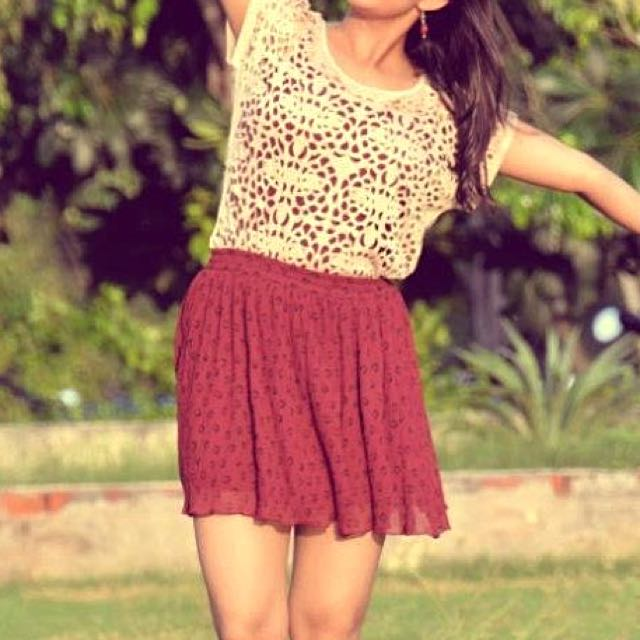 Maroon Animal Print Skirt