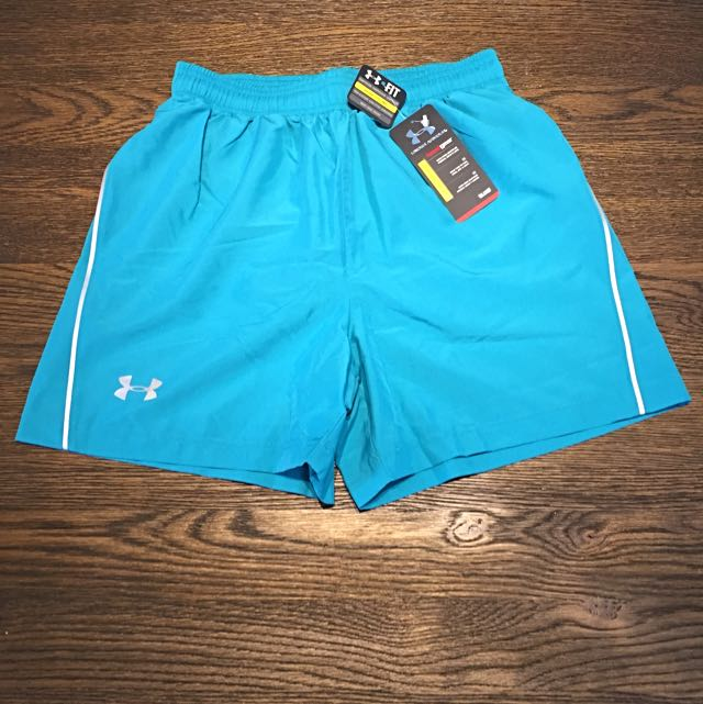 CLEARANCE @ $20! Under Armour HeatGear running shorts Cyan S Fitted
