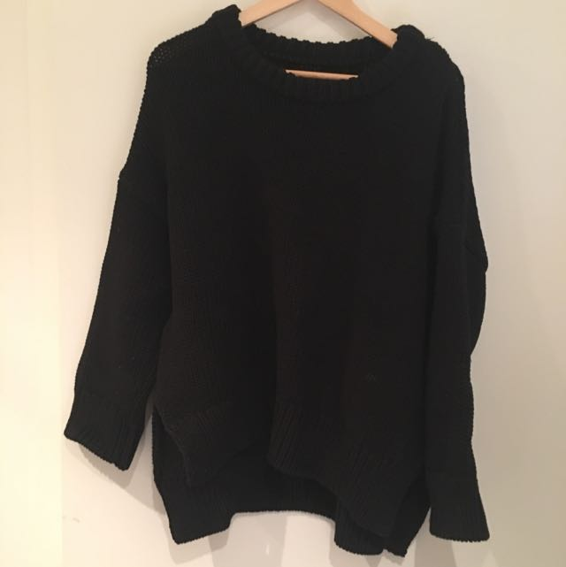 Oversized Black Large Knit Top From Zara