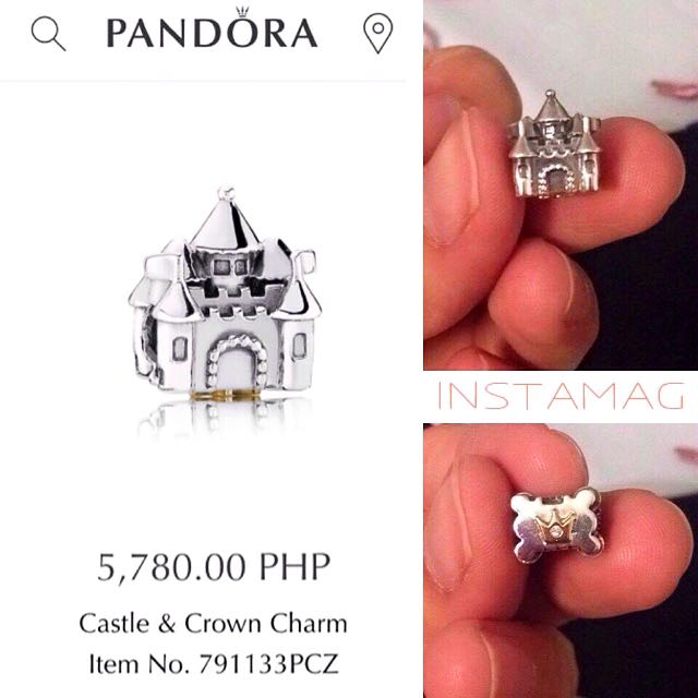 Pandora Castle Crown Charm With Gold And Diamond
