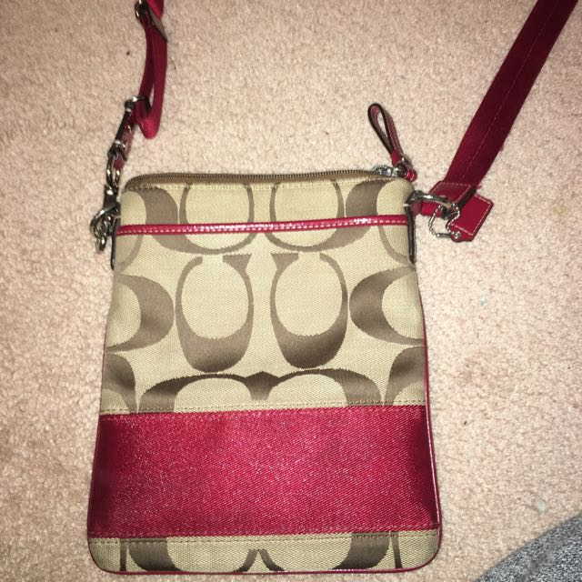 Red And Brown Coach Cross Body Bag