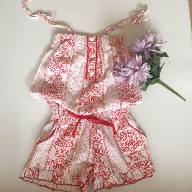 Red And White Playsuit