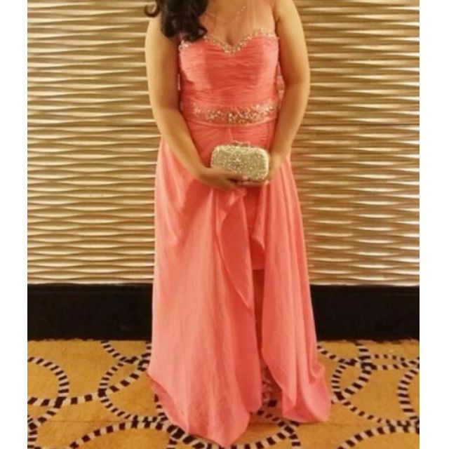 Salmon pink floor length gown, Preloved Women\'s Fashion, Clothes on ...