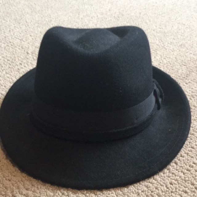 Small Size Indie Black Wool Felt Hat