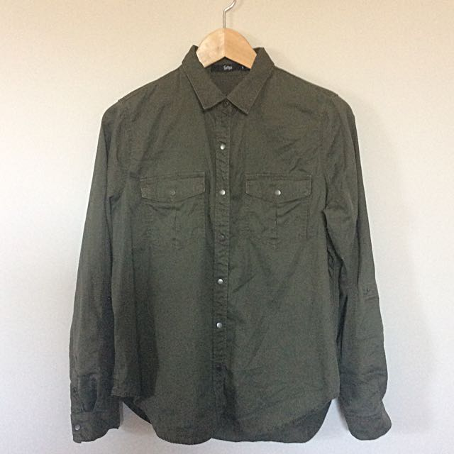 Sportsgirl Army Green Long sleeve Shirt