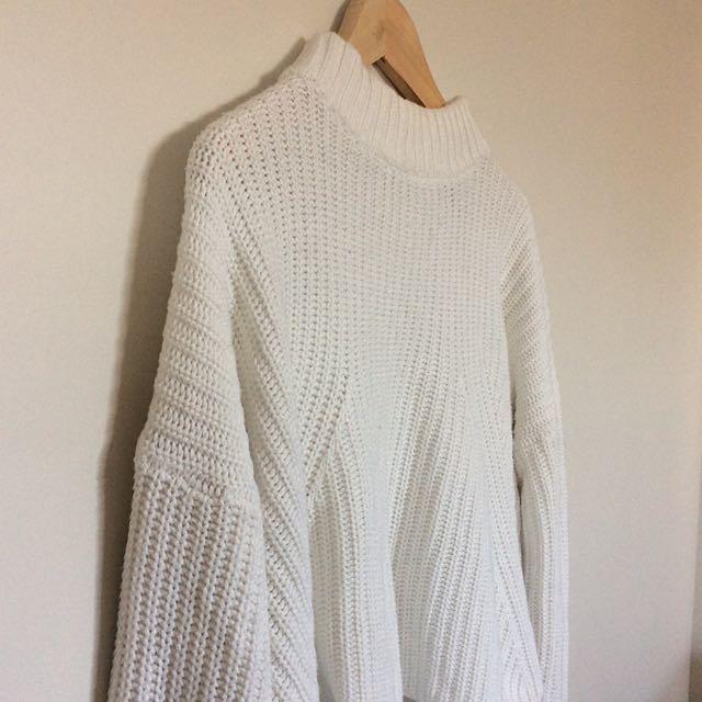 Sportsgirl Cream White Knitted Crop Jumper