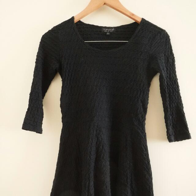 REDUCED TOPSHOP black Textured Skater Dress