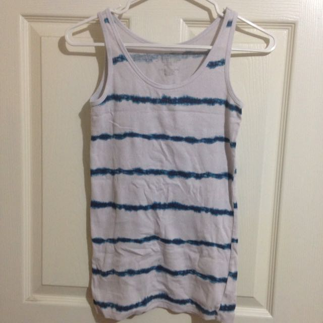 White And Blue Tank Top