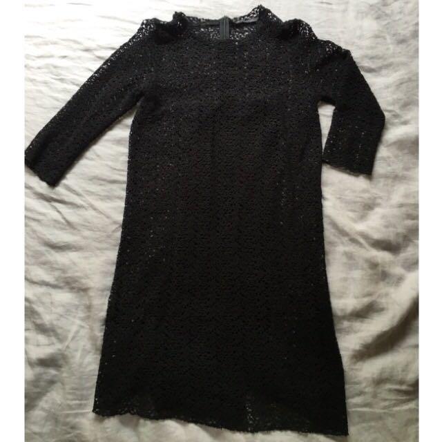 Zara Black Lace Dress. Size M