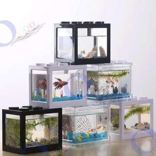 Stackable mini black LEGO USB powered fish tanks *Preorder*
