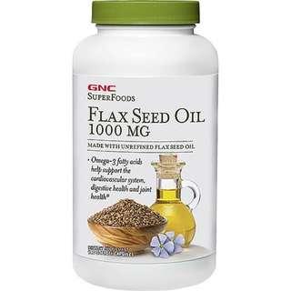 健康營養!美國GNC亞麻籽油Flax Seed Oil 1000毫克180粒 100%正品保證