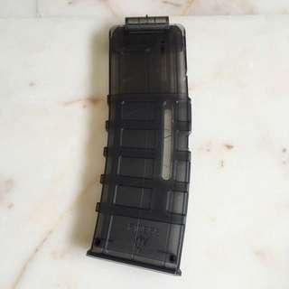 ( Sold Out ) F10555 15 Darts Transparent Black Pmag For Nerf Blaster