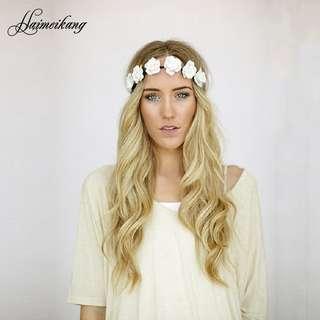 歐美熱賣波西米亞風格女士發飾 時尚甜美海邊出游玫瑰花發帶發飾上海米