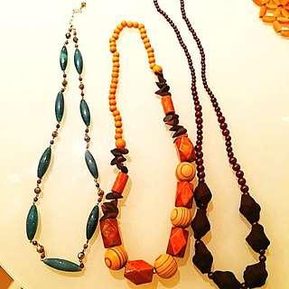 長項鍊三條  橄欖石+木質+鍛面珠